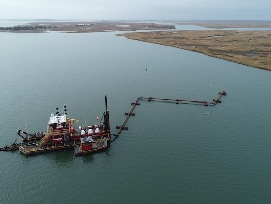 The Dredge Fullerton, owned and operated by Barnegat Bay Dredging Company, conducts dredging in the New Jersey Intracoastal Waterway near Stone Harbor, N.J. as part of a  U.S. Army Corps of Engineers project. The sediment was placed to create habitat on marshland owned by the New Jersey Division of Fish & Wildlife.