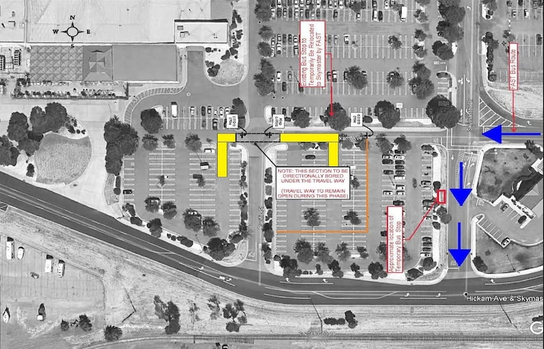 Continuing through Jan. 31, 2019, the south end of base exchange parking lot will be impacted by construction for underground utilities to support the Temporary Pharmacy.  The used car lot will still be accessible from Skymaster Drive.  The bus stop on the stretch affected is temporarily moved to Skymaster Drive as indicated on the diagram.   Work hours will be from 8 a.m. to 6 p.m.   For questions please contact:  Violetta Kaufman at 707-424-0897.