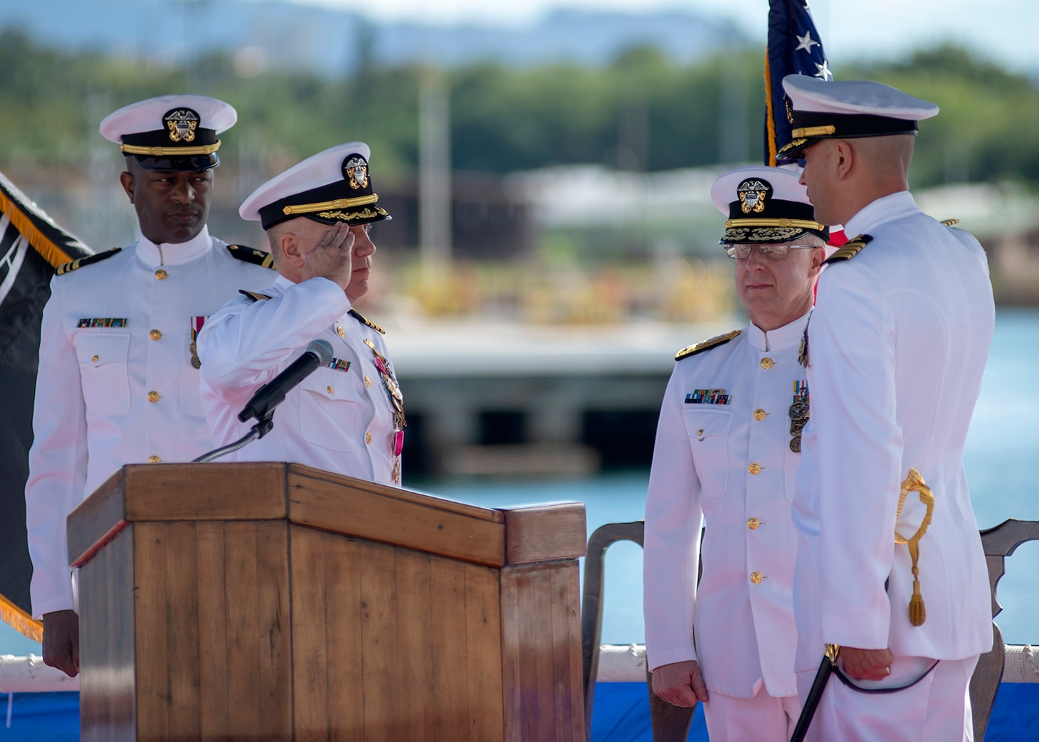 PEARL HARBOR (Jan. 08, 2019) - Capt. Richard Seif, left, is relieved of command by Capt. Wesley Bringham, during the Commander, Submarine Squadron One change of command ceremony on the submarine piers in Joint Base Pearl Harbor-Hickam, Jan. 08. (U.S. Navy photo by Mass Communication Specialist 2nd Class Melvin J. Gonzalvo)