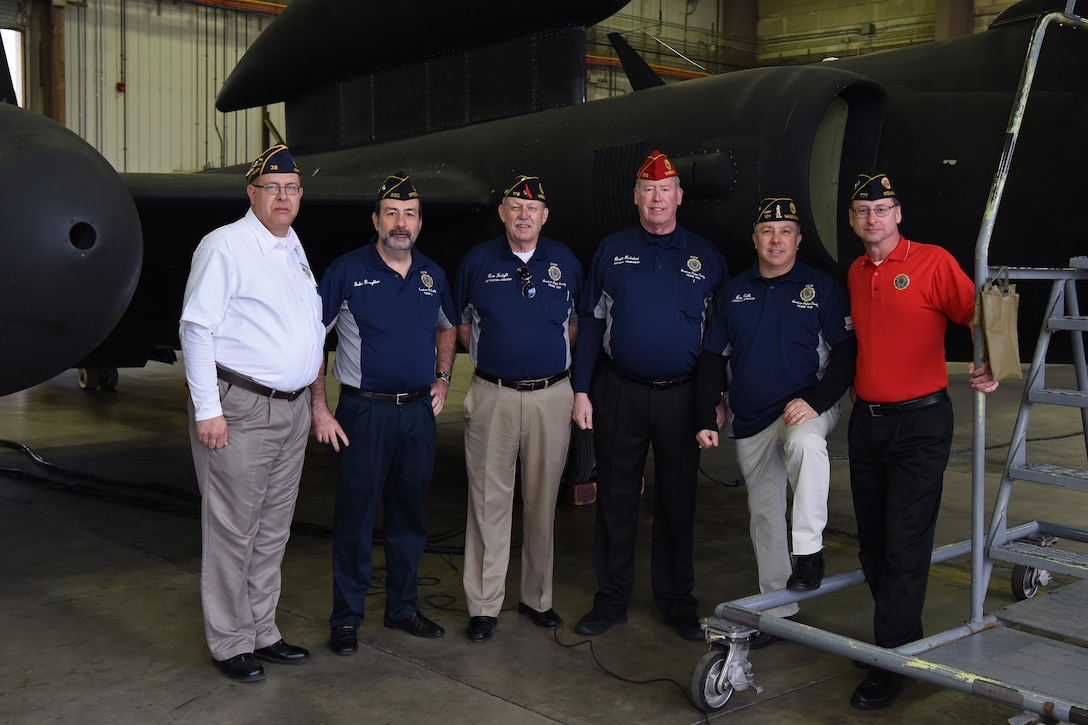Leaders from the American Legion pose with a U-2 Dragon Lady during their visit to Osan Air Base, Dec. 11, 2018. The American Legion is the nation's largest wartime veterans service organization, committed to mentoring youth and sponsorship of wholesome programs in their respective communities, advocating patriotism and honor, promoting strong national security, and continued devotion to fellow service members and veterans. (U.S. Air Force photo by Staff Sgt. Sergio A. Gamboa)