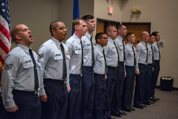 A class graduates from the 344th Training Squadron Air Force recruiting school Dec. 6, 2018, at Joint Base San Antonio, Texas. The Air Force Recruiting Service mission is to inspire, engage and recruit future Airmen to deliver airpower for America. (U.S. Air Force photo by Senior Airman Stormy Archer)