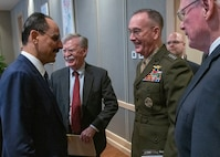 National Security Adviser John Bolton and Marine Corps Gen. Joe Dunford, chairman of the Joint Chiefs of Staff, meet with Turkish National Security Adviser Ibrahim Kalin at the Presidential Complex in Ankara, Turkey, Jan. 8, 2019.