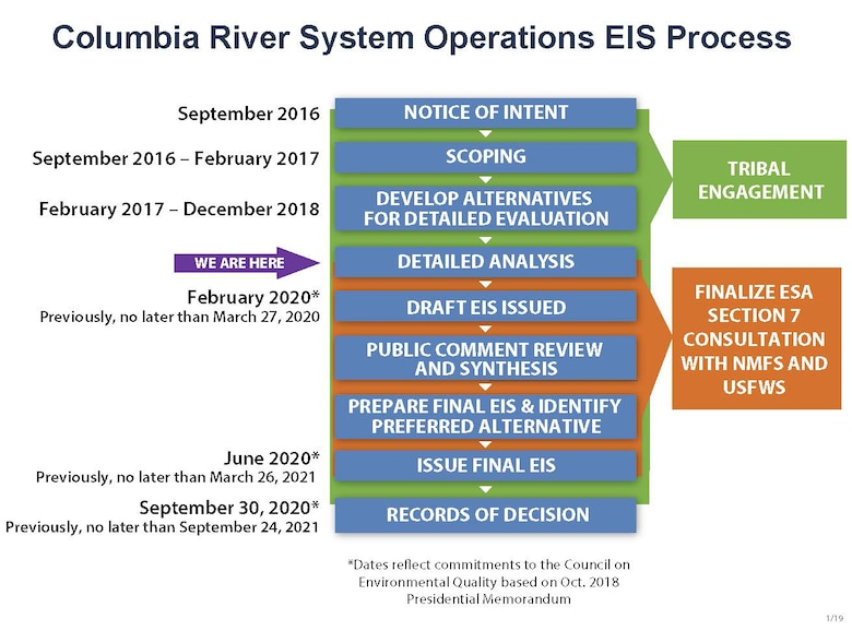 The U.S. Army Corps of Engineers, Bureau of Reclamation and the Bonneville Power Administration have revised the schedule to complete an environmental impact statement to assess and update their long-term strategy for the operations, maintenance and configuration of the 14 federal dam and reservoir projects in the Columbia River System.  According to the new schedule, these co-lead agencies will sign the Records of Decisions by the end of September 2020, one year earlier than previous scheduled.
