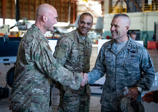 Lt. Gen. Steve Kwast, commander of Air Education and Training Command, is greeted by 58th Special Operations Wing Commander Col. Justin Hoffman upon arrival here Jan. 8. Kwast was visiting the installation to discuss special operations and combat rescue training. The 58th SOW is pursuing innovation with partner agencies at Kirtland to improve sustainability of the Wing's CV-22 aircraft. (Air Force photo by Staff Sgt. J.D. Strong II)