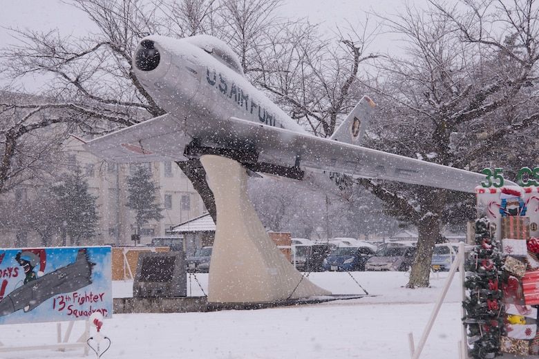 An F-86F Sabre sits in Risner Circle at Misawa Air Base, Japan, Dec. 18, 2018. The F-86F model began production in 1952. Both U.S. Air Force and Japan Air Self-Defense Force units at Misawa AB utilized the aircraft until 1979. The aircraft downed 14 MIGs for every one F-86 lost in combat during the Korean War. (U.S. Air Force photo by Senior Airman Sadie Colbert)