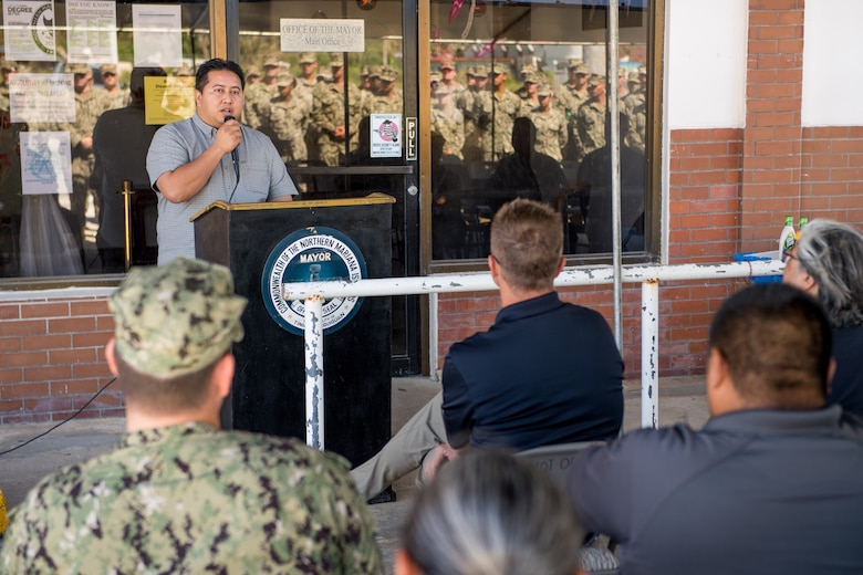TINIAN, Commonwealth of the Northern Mariana Islands (Jan. 9, 2019) Ralph Torres, governor of the CNMI, addresses attendees during a relief-in-place and transfer of authority ceremony. Naval Mobile Construction Battalion 3, Detachment Tinian, assumed responsibility as command element for Joint Task Group Engineer from Naval Mobile Construction Battalion 1, Detachment Guam. Service members from Joint Region Marianas and U.S. Indo-Pacific Command are providing Department of Defense support to the Commonwealth of the Northern Mariana Islands' civil and local officials as part of the Federal Emergency Management Agency-supported Super Typhoon Yutu recovery efforts. (U.S. Navy photo by Mass Communication Specialist 2nd Class Kelsey J. Hockenberger)