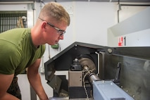 Lance Cpl. Chase Ramsby sizes a bolt Jan. 9, 2019 at Camp Kinser, Okinawa, Japan. Machinists and welders with General Support Maintenance Company, 3rd Maintenance Battalion, Combat Logistics Regiment 35, 3rd Marine Logistics Group fabricate, modify and repair parts for vehicles, weapons and other accessories. Ramsby is a machinist with GSM Co., 3rd Maint. Bn., CLR-35, 3rd MLG. Ramsby is a native of Cheboygan, Michigan. (U.S. Marine Corps photo by Lance Cpl. Terry Wong)