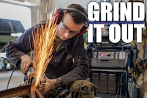 Lance Cpl. David A. Hill grinds a part Jan. 9, 2019 at Camp Kinser, Okinawa, Japan. Machinists and welders with General Support Maintenance Company, 3rd Maintenance Battalion, Combat Logistics Regiment 35, 3rd Marine Logistics Group fabricate, modify and repair parts for vehicles, weapons and other accessories. Hill is a welder with GSM Co., 3rd Maint. Bn., CLR-35, 3rd MLG. Hill is a native of Garland, Texas. (U.S. Marine Corps photo by Lance Cpl. Terry Wong)