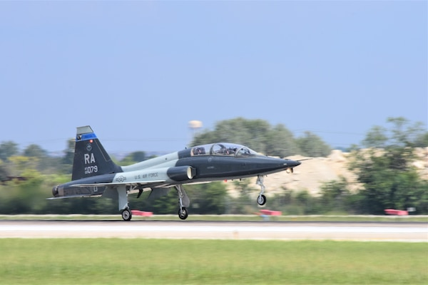 A T-38C Talon lands at Joint Base San Antonio-Randolph, Texas, Oct. 2, 2017. The 12th Flying Training Wing employs the T-38C to teach pilot instructor training students, test pilots, and introduction to fighter fundamentals students.