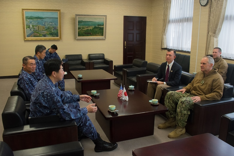 SASEBO, Japan (Jan. 9, 2019) Vice Adm. Phil Sawyer, the U.S. 7th Fleet commander, attends an office call with Vice Adm. Satoshi Kikuchi (front), the Japan Maritime Self-Defense Force (JMSDF) Sasebo District Headquarters commandant, and Rear Adm. Kenjo Sato (back), the JMSDF Sasebo District Headquarters chief of staff. Sawyer was in Sasebo to make a waterfront visit to forward deployed naval forces operating out of Fleet Activities Sasebo, Japan.
