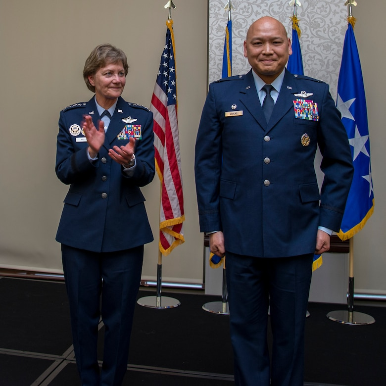 Col. Jimmy Canlas took command of the 618th Air Operations Center at Scott Air Force Base, Illinois, from Brig. Gen. John Lamontagne as Gen. Maryanne Miller, Air Mobility Command commander, presided over the ceremony Jan. 4,  2018.  The 618th AOC, formerly designated the Tanker Airlift Control Center,  is responsible for operational planning, scheduling, directing, and assessing a fleet of approximately 1,100 aircraft in support of combat delivery and strategic airlift, air refueling, and aeromedical operations around the world.