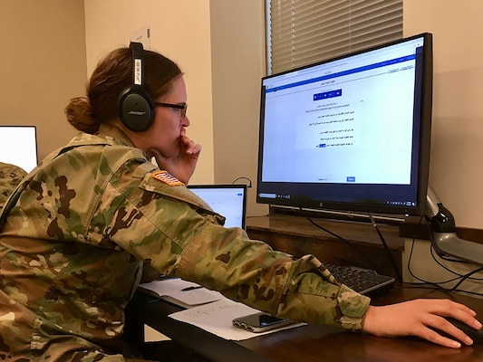 Sgt. Nikole Johnson, cryptologic linguist, Delta Company 341st Military Intelligence Battalion, focuses on language training during Inactive Duty Training on Jan. 5, 2019, at the Information Operations Readiness Center, Joint Base Lewis-McChord, Wash.