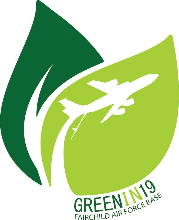 """The Fairchild Air Force Base """"Green in 19"""" logo. Team Fairchild seeks to continue mirroring the Inland Northwest's """"green footprint"""" with the """"Green in 19"""" initiative by promoting energy conservation practices not only throughout the Department of Defense, but also the Greater Spokane community. (U.S. Air Force graphic/Staff Sgt. Mackenzie Mendez)"""