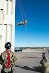 Oklahoma National Guard members of the 63rd Civil Support Team, conduct ropes rescue technician training Jan. 8, 2019, at the High Plains Technology Center in Woodward, Oklahoma. The training is part of an annual refresher and re-certification for unit members who continually train on aspects that directly affect their mission of being the Oklahoma National Guard's team of first responders. The event included the basics of rope rescue from knot tying, to the more advanced portion of rappelling down and up a steep, simulated cliff.