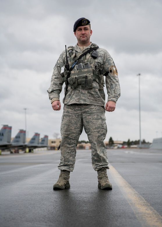 Senior Master Sgt. Andrew Cekovsky, 104th Security Forces Squadron drill status guardsman superintendent, protects the flight line Jan. 9, 2019, at Barnes Air National Guard Base, Massachusetts. Cekovsky has been with the 104th SFS for 19 years and is also a police officer with the Westfield Police Department. (U.S. Air National Guard photo by Airman 1st Class Randy Burlingame)