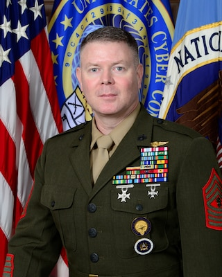 Official photo of Master Gunnery Sergeant Scott H. Stalker, Senior Enlisted Leader of United States Cyber Command, and the National Security Agency