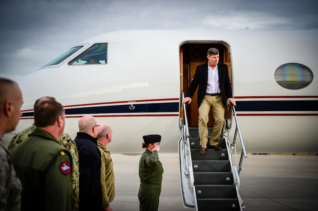 Adm. Bill Moran, Vice Chief of Naval Operations, arrives at Buckley Air Force Base, Colorado, Jan. 9, 2019. Moran visited Buckley AFB to strengthen base relations and to see how Sailors impact Buckley's mission. (U.S. Air Force photo by Senior Airman Alyssa Duprey)