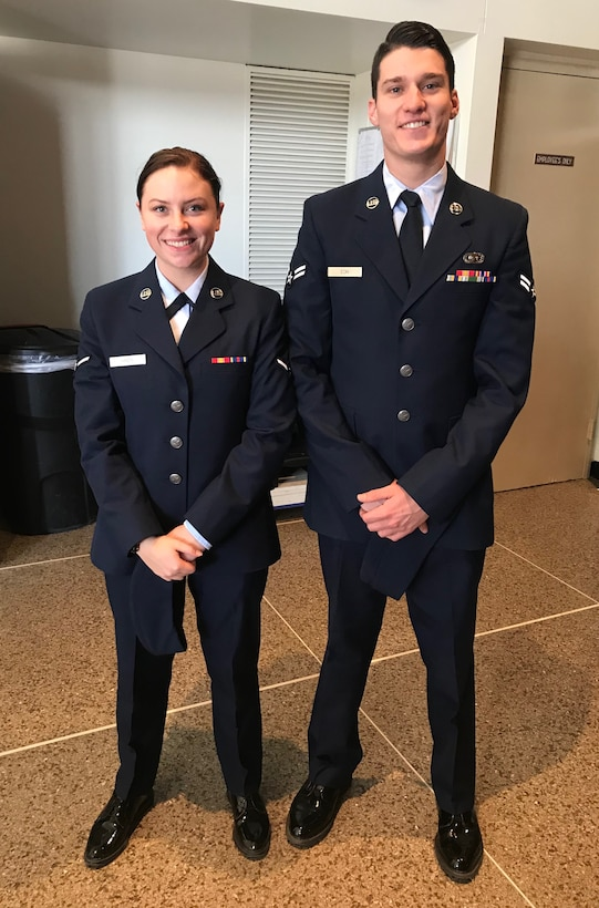 Airman 1st Class Alex Eon, 315th Training Squadron trainee, and Airman Kaycie Hinds, 315th Training Squadron trainee, capture the moment prior to graduating technical school training at Goodfellow Air Force Base, San Angelo, Texas Dec. 21, 2017. Although this photo was taken prior to their wedding in September 2018, Kaycie and Alex are now getting accustomed to a dual military marriage life.