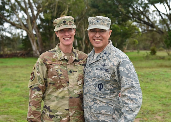 "Col. Curtis Hernandez, 30th Operations Group commander, and Lt. Col. Ericka Hernandez, 14th Air Force director, manpower and personnel, celebrate their permanent change of station at Vandenberg Air Force Base, Calif. Jan. 9, 2019. ""While in a dual military marriage, my wife and I have learned to communicate better,"" Col. Hernandez said. ""The time that we have spent apart has made us appreciate what we have and improved our quality of life."""