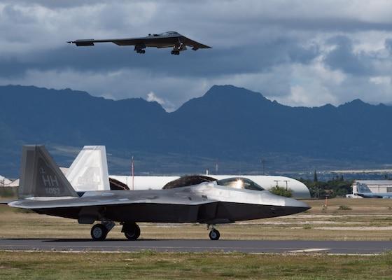 A B-2 Spirit bomber deployed from Whiteman Air Force Base, Missouri, lands at Joint Base Pearl Harbor-Hickam, Hawaii, Jan. 10, 2019.
