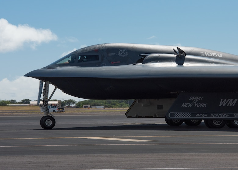 A B-2 Spirit bomber deployed from Whiteman Air Force Base, Missouri, is parked on the flightline at Joint Base Pearl Harbor-Hickam, Hawaii, Jan. 10, 2019.