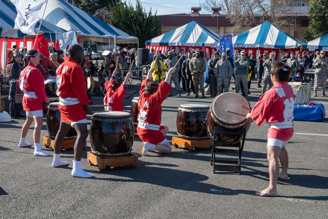 Taiko drummers perform for an audience at the annual Japanese Culture Day at Yokota Air Base, Japan, Jan. 11, 2019.