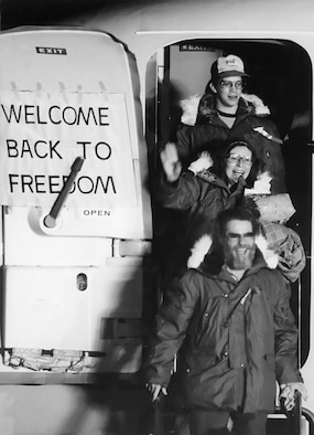 The newly freed American hostages arrive by bus at the U.S. Air Force Hospital in Wiesbaden, Germany, Jan. 20, 1981. They spent 444 days in Iranian captivity and stopped at the Wiesbaden hospital for medical and psychological exams before returning home. (U.S. Air Force photo)