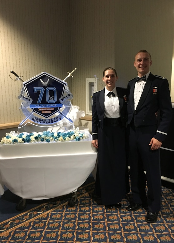 2nd Lt. Ethan Rasmussen, 30th Space Wing contracting specialist and 2nd Lt. Amy Rasmussen, 30th Space Wing public affairs officer, pose at the Air Force Ball at the Pacific Coast Club, Vandenberg Air Force Base, Calif. Sept. 8, 2017. This was the first Air Force Ball for the newly wedded couple.