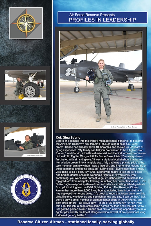 The fourth edition of the Air Force Reserve Profiles in Leadership featuring 16 Reserve Citizen Airmen, went on display in the Pentagon Dec. 14, 2018. This year's display includes Col. Regina Sabric, 419th Fighter Wing commander at Hill Air Force Base, Utah. (U.S. Air Force graphic)