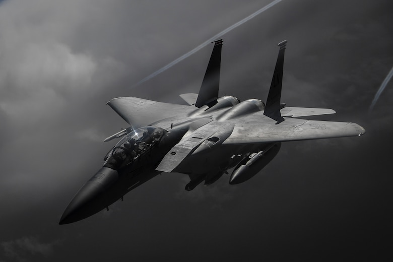 An F-15E Strike Eagle flies over Iraq