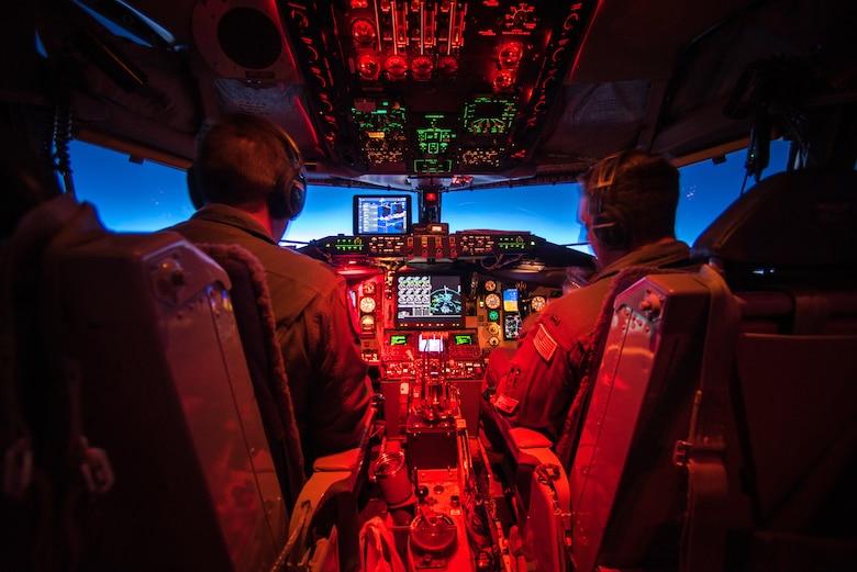 Capt. Jay Lamb and 2nd Lt. Johnathan Vargas pilot a KC-135