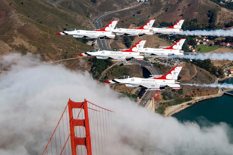 The Air Force Air Demonstration Squadron Thunderbirds Delta flies over the Golden Gate Bridge