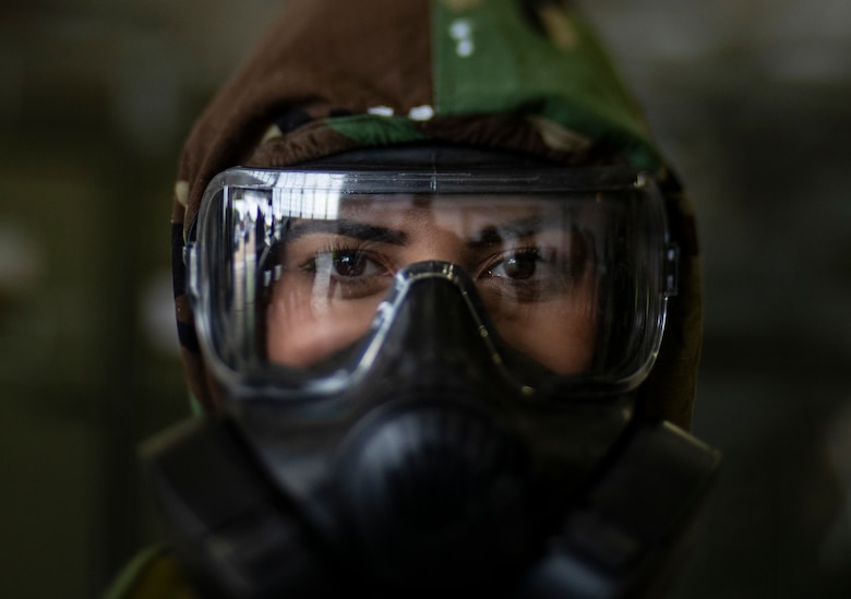 Senior Airman Eusaybia Parker wears her M50 gas mask