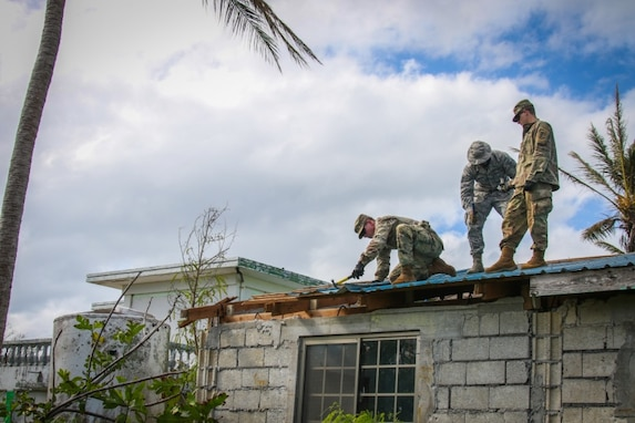 Army Engineers Arrive to Lead Continued Joint-Service Efforts to Install Temporary Roofs after Yutu