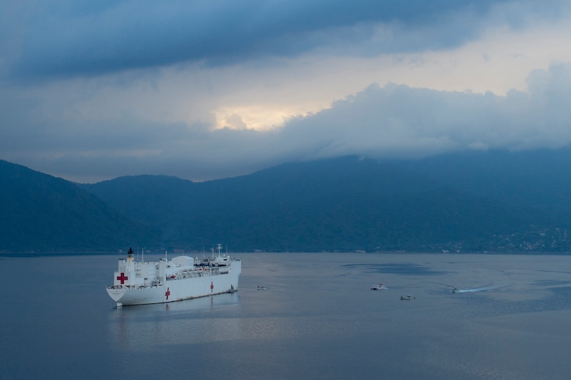 The USNS Comfort at anchor