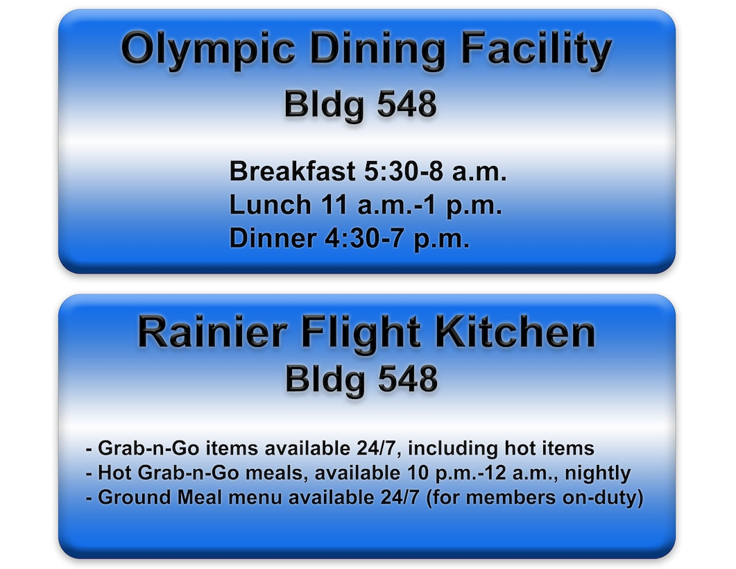 Olympic Dining Facility and Rainier Flight Kitchen info