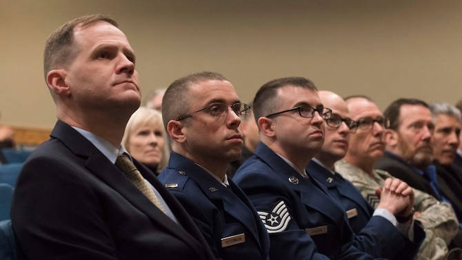 "2nd Lt. George Edmund from the 566th Intelligence Squadron shares ideas from his essay, ""Command of Space,"" at Headquarters, Air Force Space Command at Peterson Air Force Base, Colorado, Jan. 10, 2019.  Edmund was named Gen. Bernard Schriever Memorial Essay Contest Airman/NCO Division First Place Winner.  Edmund was recently was recently commissioned at a 2nd Lt.—he was a Staff Sgt. when he submitted the essay. (U.S. Air Force photo by Dave Grim)"