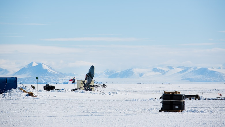 A deployable satellite belonging to the 263rd Combat Communications Squadron with the North Carolina Air National Guard is set up on an ice field for use during Operation Deep Freeze (ODF), at McMurdo Station, Antarctica, Dec. 1, 2018. ODF is a military mission in support of the National Science Foundation throughout the continent of Antarctica, to provide air, land, and sea support to McMurdo Station. (Courtesy photo submitted by Civ. Johnny Chiang)