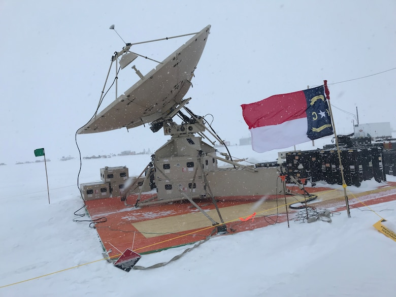 A deployable satellite belonging to the 263rd Combat Communications Squadron with the North Carolina Air National Guard is set up on an ice field for use during Operation Deep Freeze (ODF), at McMurdo Station, Antarctica, Dec. 1, 2018. ODF is a military mission in support of the National Science Foundation throughout the continent of Antarctica, to provide air, land, and sea support to McMurdo Station. (Courtesy photo by U.S. Air Force Master Sgt. Chris Farnsworth)