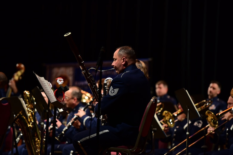 Tech. Sgt. Alexander Plotin plays the bassoon during a holiday concert with the Air National Guard Band of the Northeast December 16, 2018, at the Scottish Rite Cathedral in Harrisburg, Pennsylvania. Plotin was one of three augmentees from the Texas Air National Guard Band of the Southwest selected to play during the concert.  (U.S. Air National Guard photo by Senior Airman Rachel Loftis/Released)
