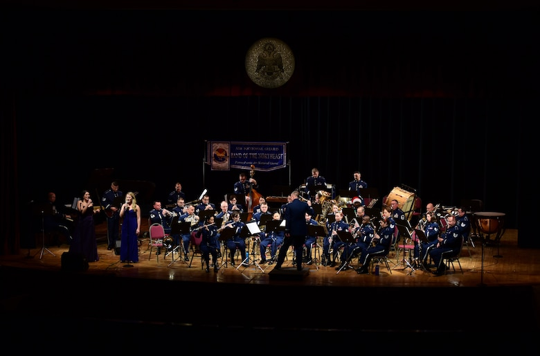 The Air National Guard Band of the Northeast performs its annual holiday concert December 16, 2018, at the Scottish Rite Cathedral in Harrisburg, Pennsylvania. The concert featured a 35-piece wind-ensemble and was free and open to the public. (U.S. Air National Guard photo by Senior Airman Rachel Loftis/Released)