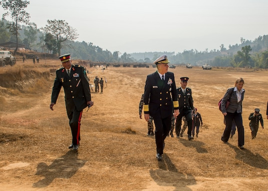 Commander, U.S. Indo-Pacific Command Adm. Phil Davidson tours the Birenda Peace Operations Training Center. This is Davidson's first visit to Nepal as the USINDOPACOM commander.
