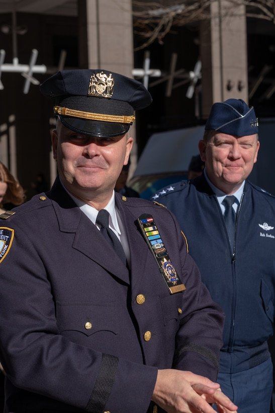 U.S. Air Force Lt. Gen.Richard W. Scobee, Air Force Reserve commander, is escorted by Lt. Col. Michael Gibbs, 514th Security Forces Squadron commander in New York City on January 11, 2019. Gibbs is a Reserve Citizen Airmen with the 514th Air Mobility Wing located at Joint Base McGuire-Dix-Lakehurst, N.J., and a captain in the New York Police Department. (U.S. Air Force photo by Staff Sgt. Michael Ki Hong)
