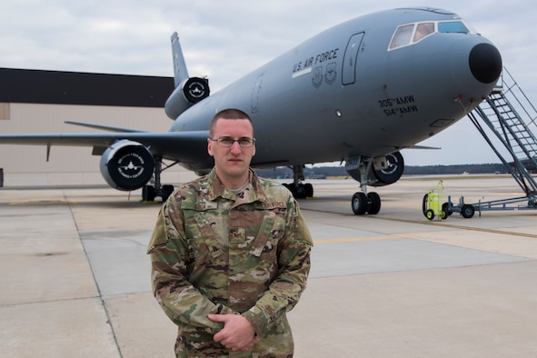 U.S. Air Force Staff Sgt. Beau J. Sisk, a KC-10 Extender crew chief with the 714th Aircraft Maintenance Squadron, 514th Maintenance Group, 514th Air Mobility Wing, poses for a photo on Joint Base McGuire-Dix-Lakehurst, N.J., January 6, 2018.