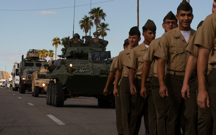 Combat Center Marines participate in the 29 Palms Pioneer Day Parade in Twentynine Palms, Calif., Oct. 20, 2018. Pioneer Days started in 1937 and since then has evolved into a celebration and parade. The Combat Center and local community keep relations strong with events like these, giving them the opportunity to connect. (U.S. Marine Corps photo by Lance Cpl. Dave Flores)