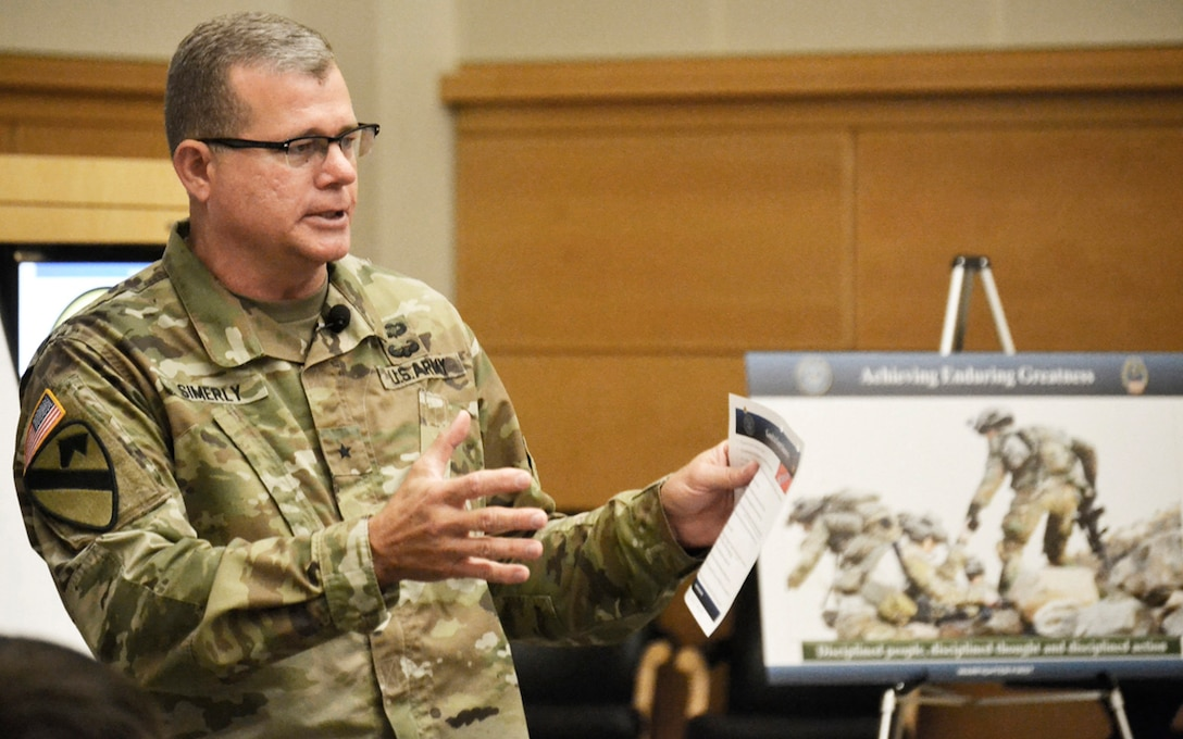 Army Brig. Gen. Mark Simerly, DLA Troop Support commander, opens a meeting with DLA Troop Support senior leaders last summer in Philadelphia, which led to recommendations published in the 2019 DLA Troop Support Campaign Plan.