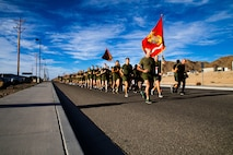 U.S. Marine Corps Col. Dom D. Ford, commanding officer, Marine Corps Communication and Electronics School (MCCES), leads Marines during the unit's annual Toys for Tots run at Marine Corps Air Ground Combat Center (MCAGCC), Twentynine Palms, Calif., Dec. 18, 2018. Marines participated in the run in an effort to donate gifts to children in the local area. (U.S. Marine Corps Photo by Pfc. Aaron Harshaw)