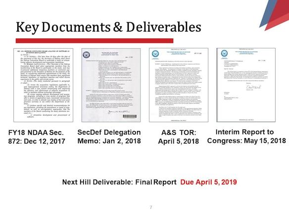 FY18 NDAA Sec.  872: Dec 12, 2017 SecDef Delegation  Memo: Jan 2, 2018 A&S  TOR: April 5, 2018 Interim Report to Congress: May 15, 2018