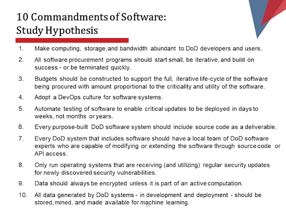 10 Commandments of Software: Study Hypothesis