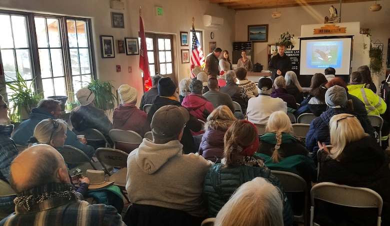 ABIQUIU LAKE, N.M. -- Alex Patia, from the N.M. Wildlife Center, gives a presentation about eagles and how to identify the raptor to volunteers during the annual Midwinter Eagle Watch, Jan. 5, 2019.